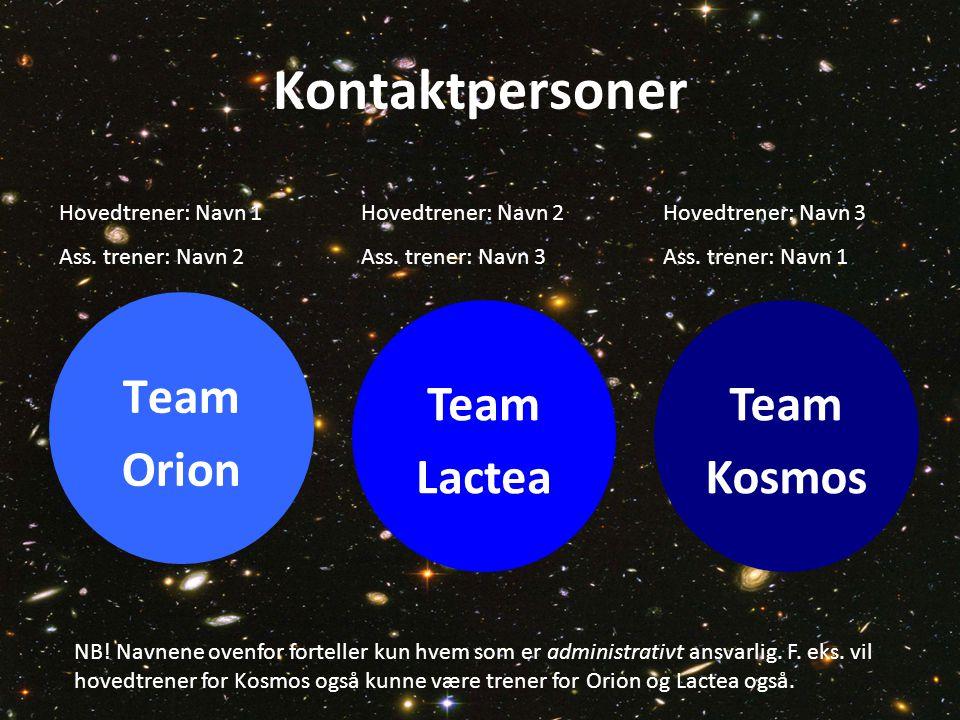 Kontaktpersoner Team Orion Team Lactea Team Kosmos Hovedtrener: Navn 1 Ass. trener: Navn 2 Hovedtrener: Navn 2 Ass. trener: Navn 3 Hovedtrener: Navn 3