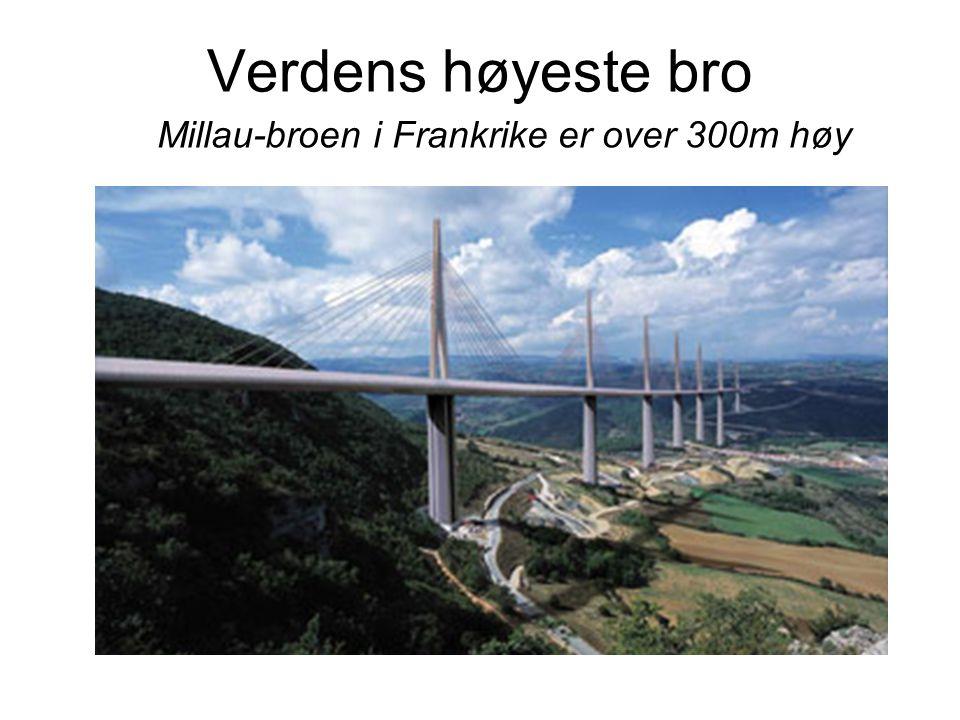 Verdens høyeste bro Millau-broen i Frankrike er over 300m høy