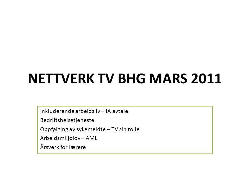 NETTVERK TV BHG MARS 2011 Inkluderende arbeidsliv – IA avtale Bedriftshelsetjeneste Oppfølging av sykemeldte – TV sin rolle Arbeidsmiljølov – AML Årsv
