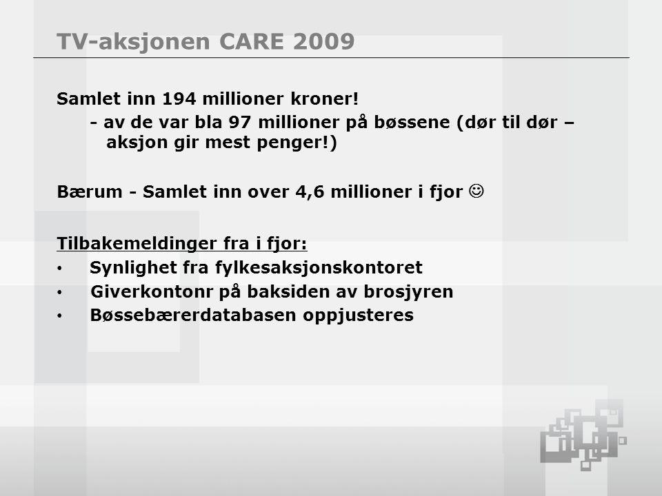 TV-aksjonen CARE 2009 Samlet inn 194 millioner kroner.