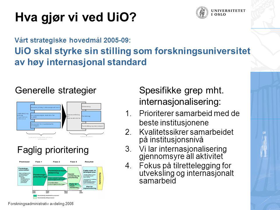 Forskningsadministrativ avdeling 2008 Vårt strategiske hovedmål 2005-09: UiO skal styrke sin stilling som forskningsuniversitet av høy internasjonal standard Hva gjør vi ved UiO.