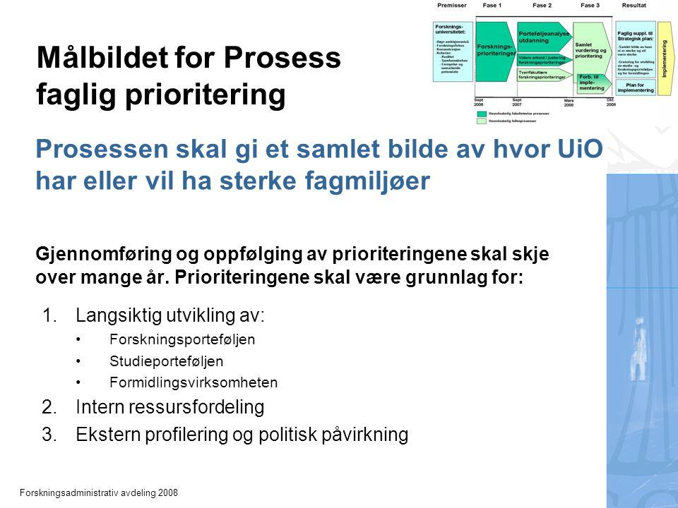 Forskningsadministrativ avdeling 2008 Prosessen skal gi et samlet bilde av hvor UiO har eller vil ha sterke fagmiljøer Gjennomføring og oppfølging av prioriteringene skal skje over mange år.