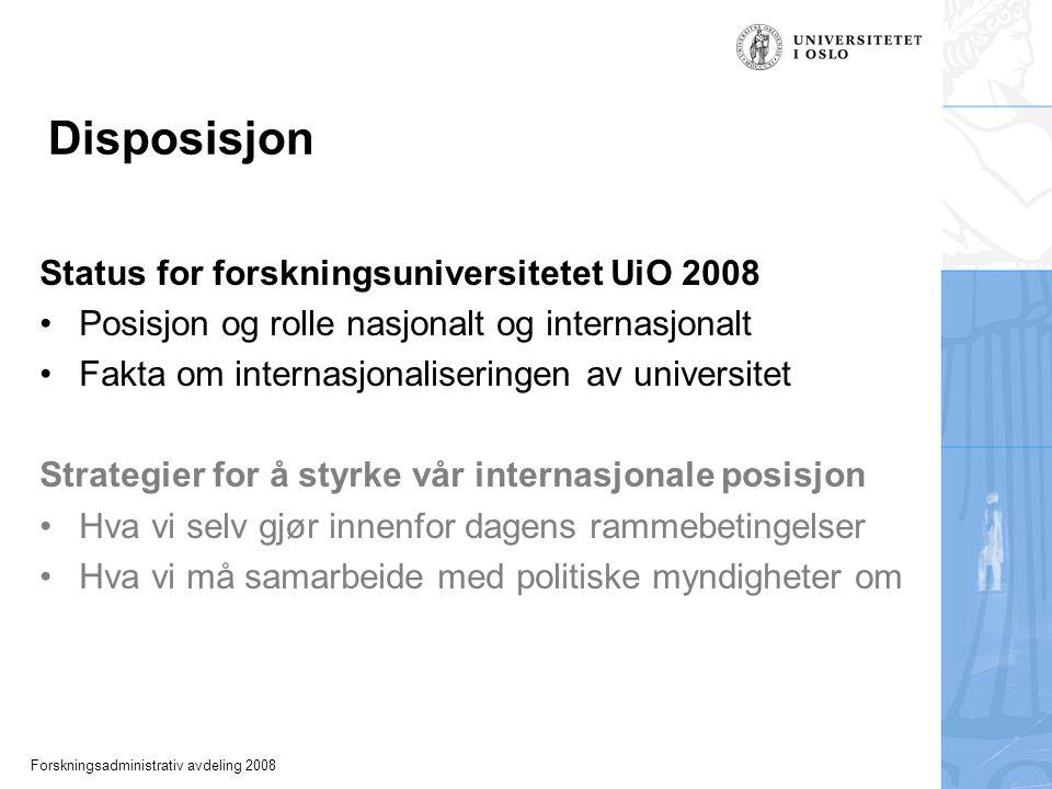 Forskningsadministrativ avdeling 2008 Disposisjon Status for forskningsuniversitetet UiO 2008 Posisjon og rolle nasjonalt og internasjonalt Fakta om internasjonaliseringen av universitet Strategier for å styrke vår internasjonale posisjon Hva vi selv gjør innenfor dagens rammebetingelser Hva vi må samarbeide med politiske myndigheter om