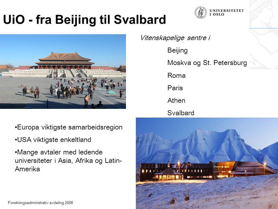 Forskningsadministrativ avdeling 2008 UiO - fra Beijing til Svalbard Europa viktigste samarbeidsregion USA viktigste enkeltland Mange avtaler med ledende universiteter i Asia, Afrika og Latin- Amerika Vitenskapelige sentre i Beijing Moskva og St.