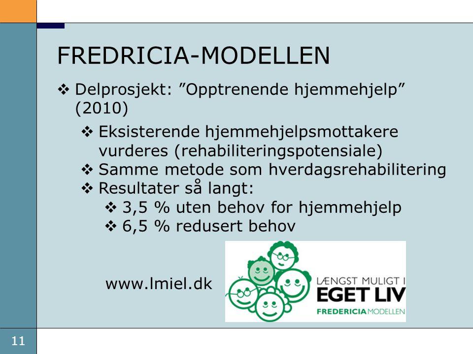 """11 FREDRICIA-MODELLEN www.lmiel.dk  Delprosjekt: """"Opptrenende hjemmehjelp"""" (2010)  Eksisterende hjemmehjelpsmottakere vurderes (rehabiliteringspoten"""
