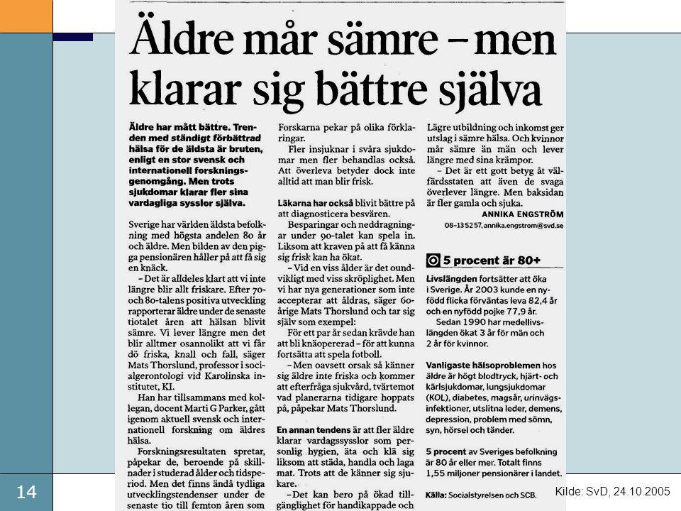 14 Kilde: SvD, 24.10.2005
