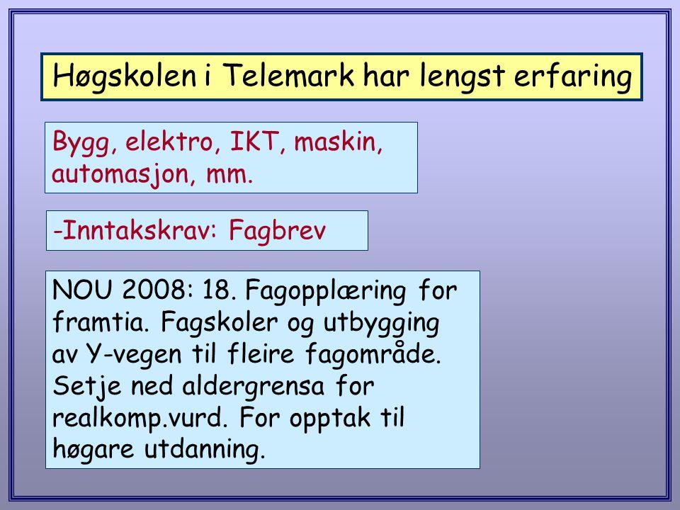 Høgskolen i Telemark har lengst erfaring Bygg, elektro, IKT, maskin, automasjon, mm. -Inntakskrav: Fagbrev NOU 2008: 18. Fagopplæring for framtia. Fag