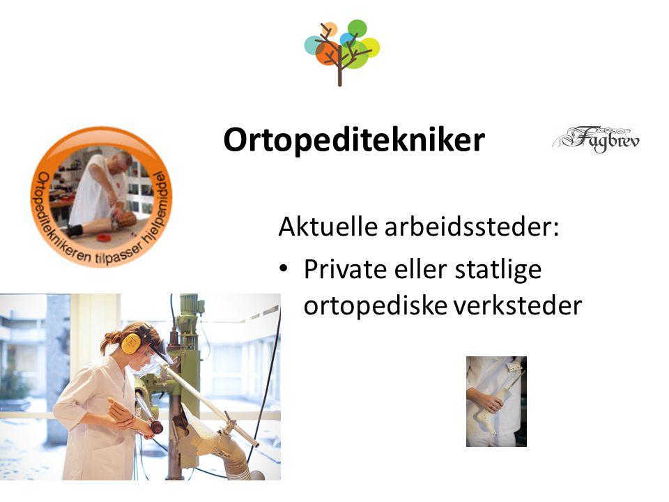 Ortopeditekniker Aktuelle arbeidssteder: Private eller statlige ortopediske verksteder