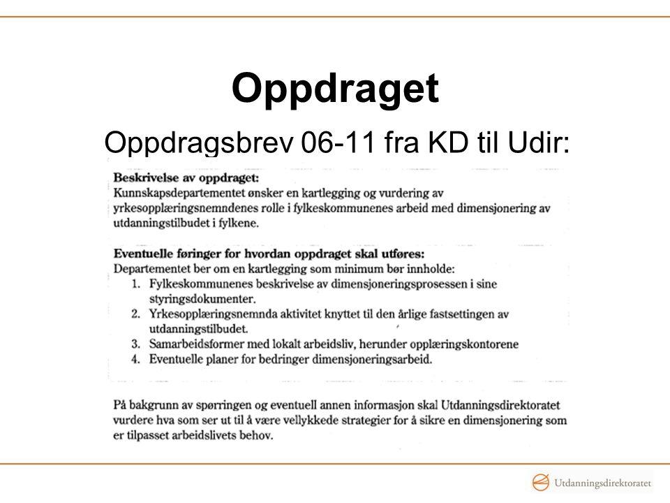 Oppdraget Oppdragsbrev 06-11 fra KD til Udir: