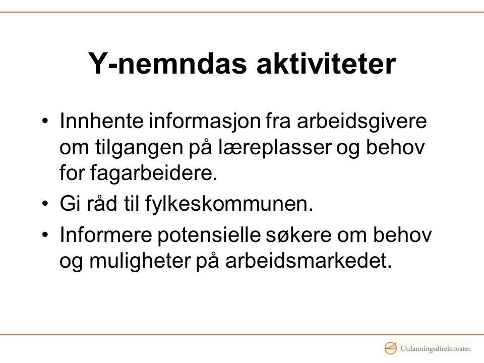 Y-nemndas aktiviteter Innhente informasjon fra arbeidsgivere om tilgangen på læreplasser og behov for fagarbeidere. Gi råd til fylkeskommunen. Informe