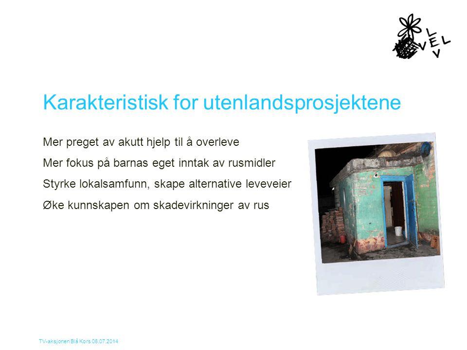 TV-aksjonen Blå Kors 06.07.2014 Karakteristisk for utenlandsprosjektene Mer preget av akutt hjelp til å overleve Mer fokus på barnas eget inntak av ru