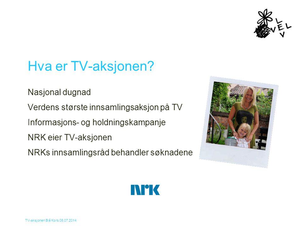 TV-aksjonen Blå Kors 06.07.2014 Hva er TV-aksjonen? Nasjonal dugnad Verdens største innsamlingsaksjon på TV Informasjons- og holdningskampanje NRK eie
