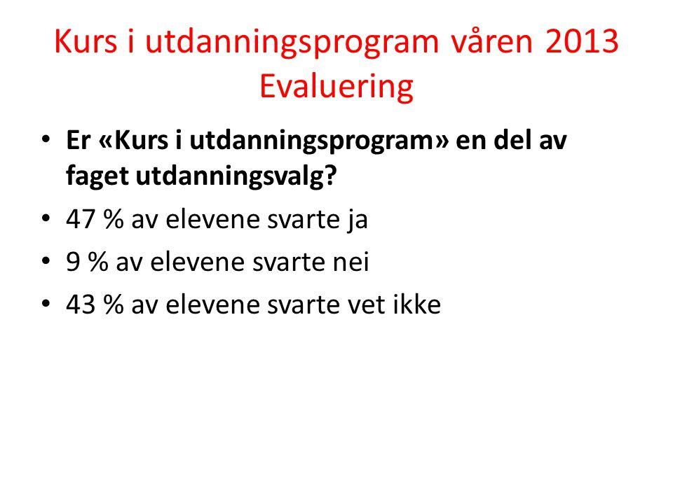 Kurs i utdanningsprogram våren 2013 Evaluering Er «Kurs i utdanningsprogram» en del av faget utdanningsvalg.