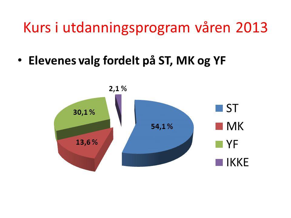 Kurs i utdanningsprogram Yrkesfagene taper stadig terreng… Høst 12Vår 13Avvik Studieforberedende48,9 %54,1 %5,2 % Medier og kommunikasjon14,7 %13,6 %-1,1 % Yrkesfag32,4 %30,1 %-2,3 % Ikke på kurs4,0 %2,1 %-1,9 %
