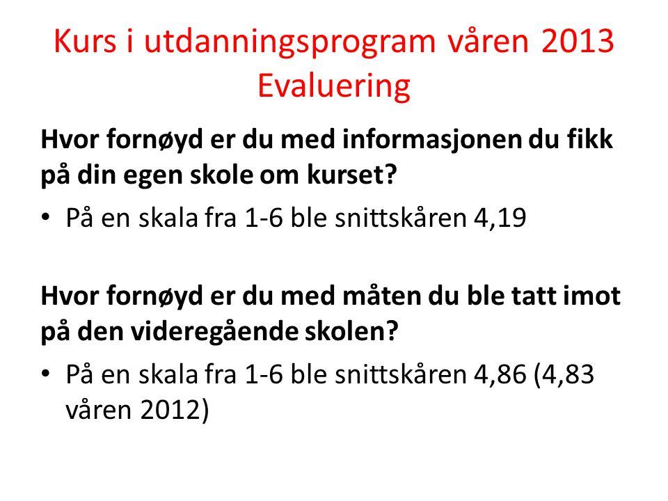 Kurs i utdanningsprogram våren 2013 Evaluering Hvor fornøyd er du med informasjonen du fikk på din egen skole om kurset.