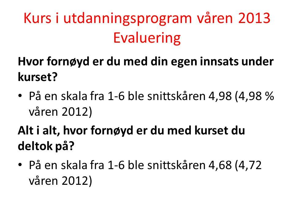 Kurs i utdanningsprogram våren 2013 Evaluering Hvor fornøyd er du med din egen innsats under kurset.