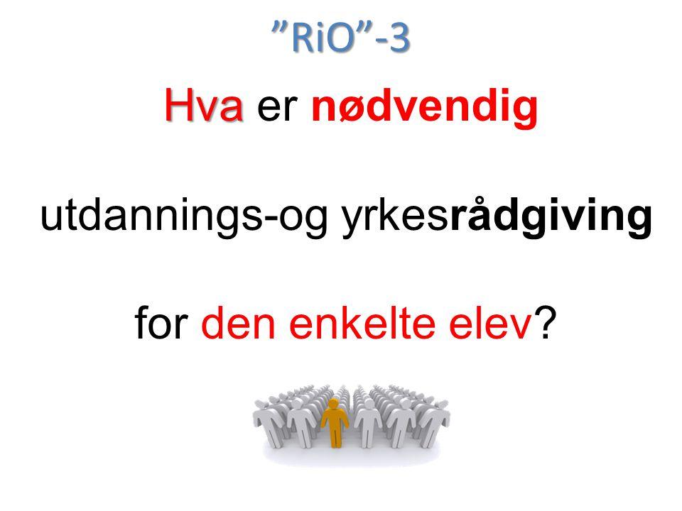 """""""RiO""""-3 Hva Hva er nødvendig utdannings-og yrkesrådgiving for den enkelte elev?"""