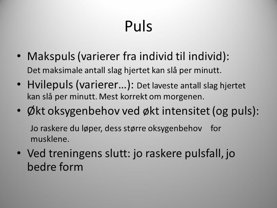 Puls Makspuls (varierer fra individ til individ): Det maksimale antall slag hjertet kan slå per minutt. Hvilepuls (varierer…): Det laveste antall slag