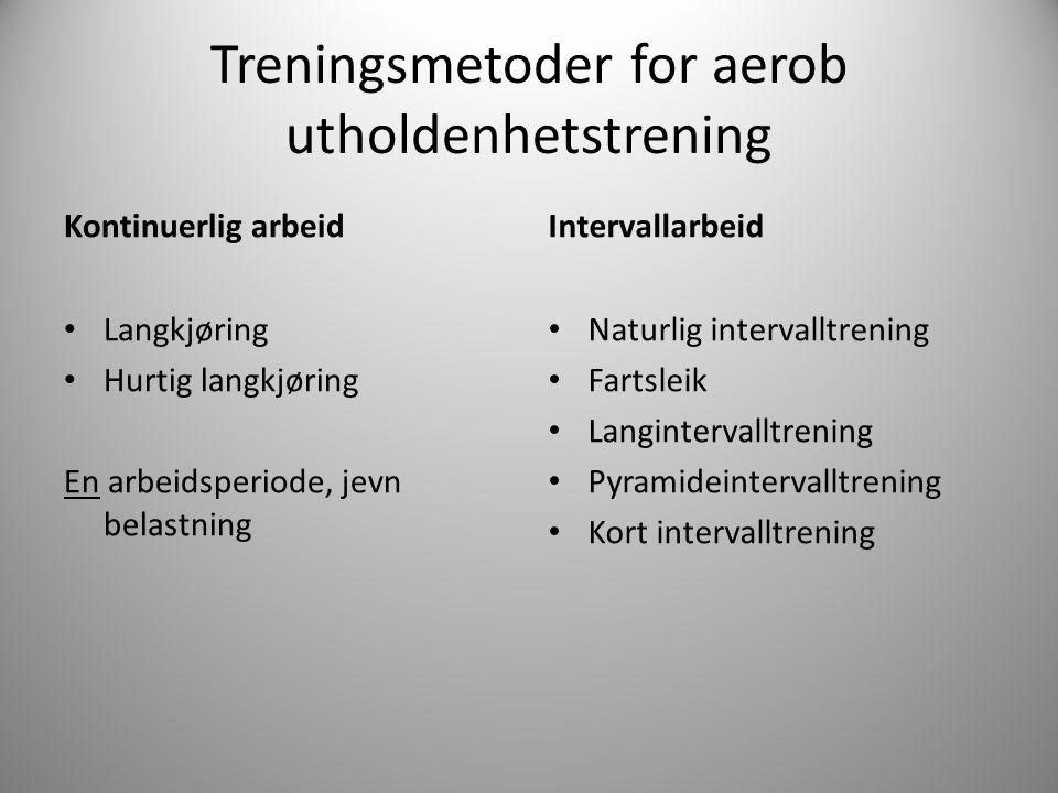 Treningsmetoder for aerob utholdenhetstrening Kontinuerlig arbeid Langkjøring Hurtig langkjøring En arbeidsperiode, jevn belastning Intervallarbeid Na