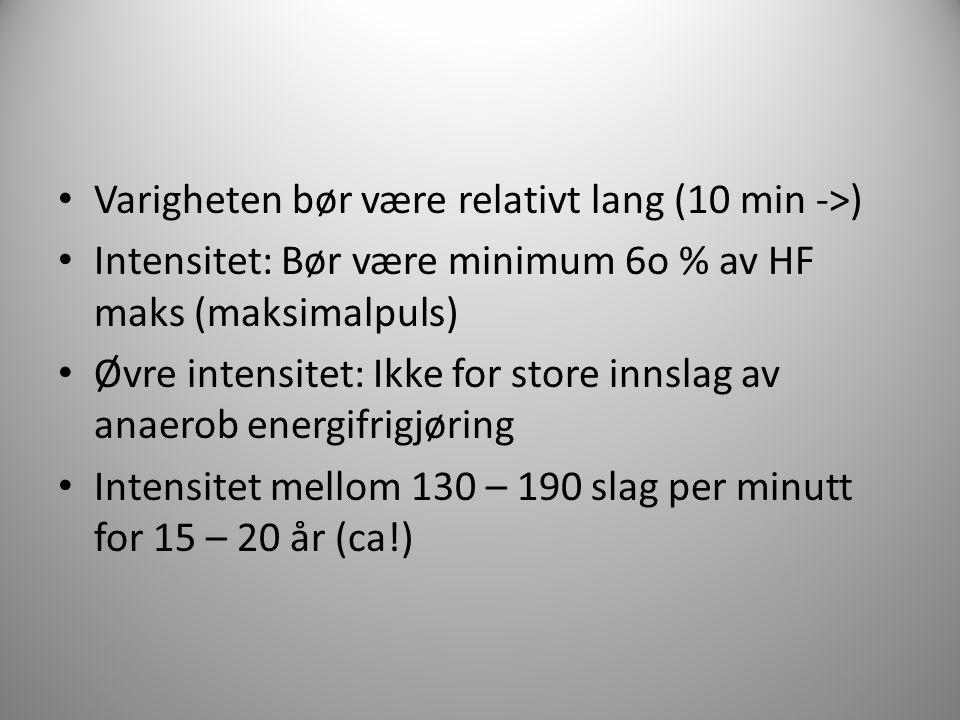 Varigheten bør være relativt lang (10 min ->) Intensitet: Bør være minimum 6o % av HF maks (maksimalpuls) Øvre intensitet: Ikke for store innslag av a