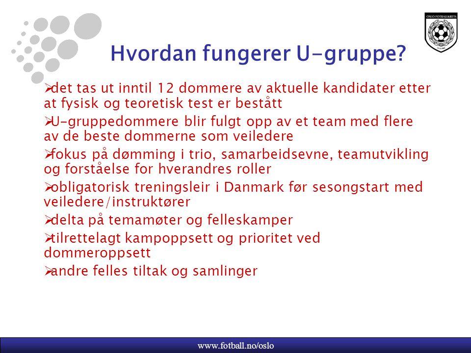 www.fotball.no/oslo Hvordan fungerer U-gruppe?  det tas ut inntil 12 dommere av aktuelle kandidater etter at fysisk og teoretisk test er bestått  U-