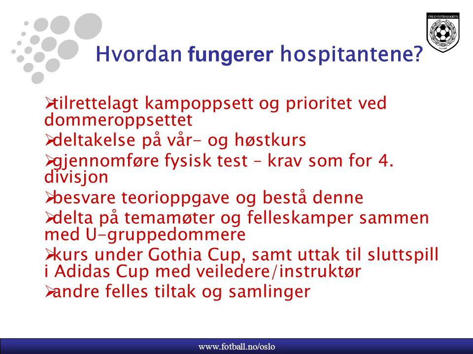 www.fotball.no/oslo Hvordan fungerer hospitantene?  tilrettelagt kampoppsett og prioritet ved dommeroppsettet  deltakelse på vår- og høstkurs  gjen