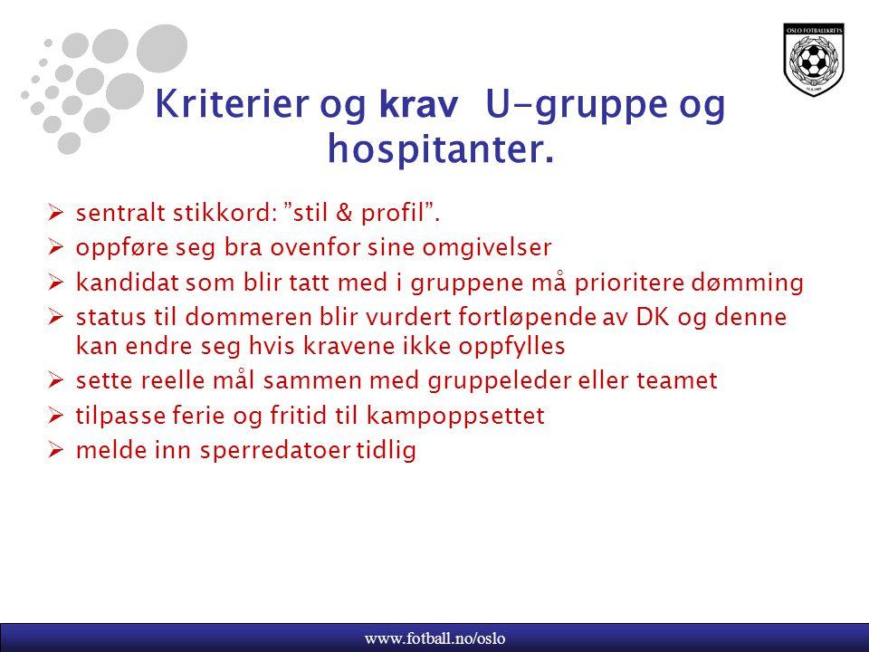 www.fotball.no/oslo Kriterier og krav U-gruppe og hospitanter.