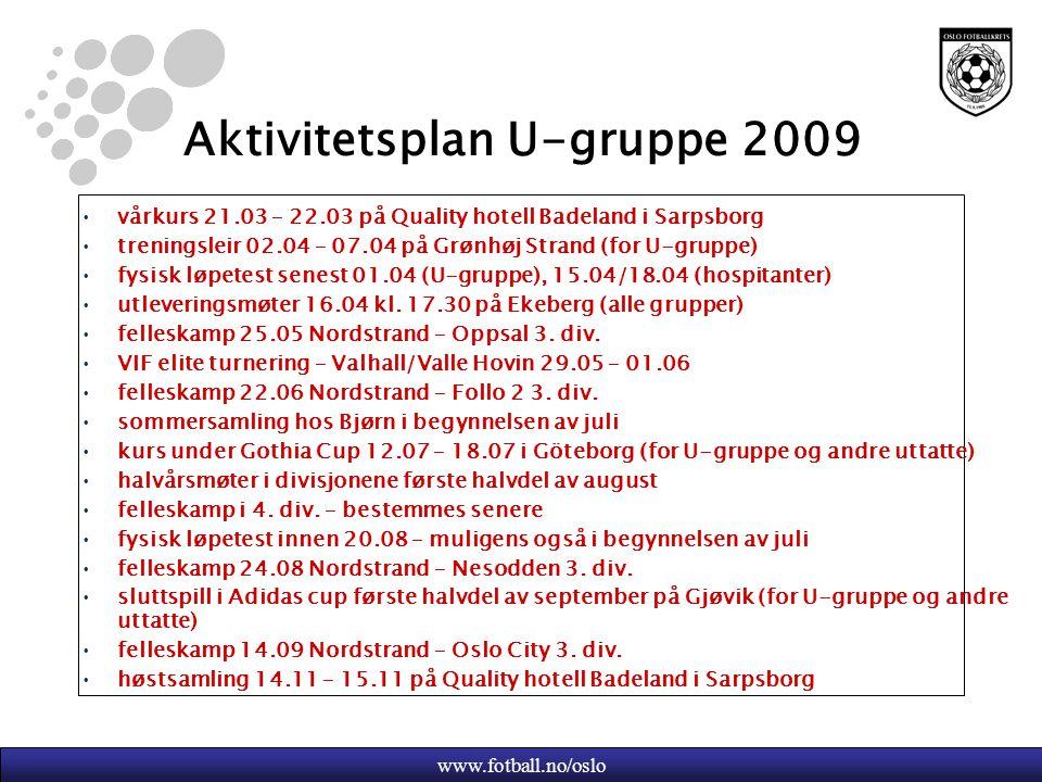 www.fotball.no/oslo Aktivitetsplan U-gruppe 2009 vårkurs 21.03 – 22.03 på Quality hotell Badeland i Sarpsborg treningsleir 02.04 – 07.04 på Grønhøj St