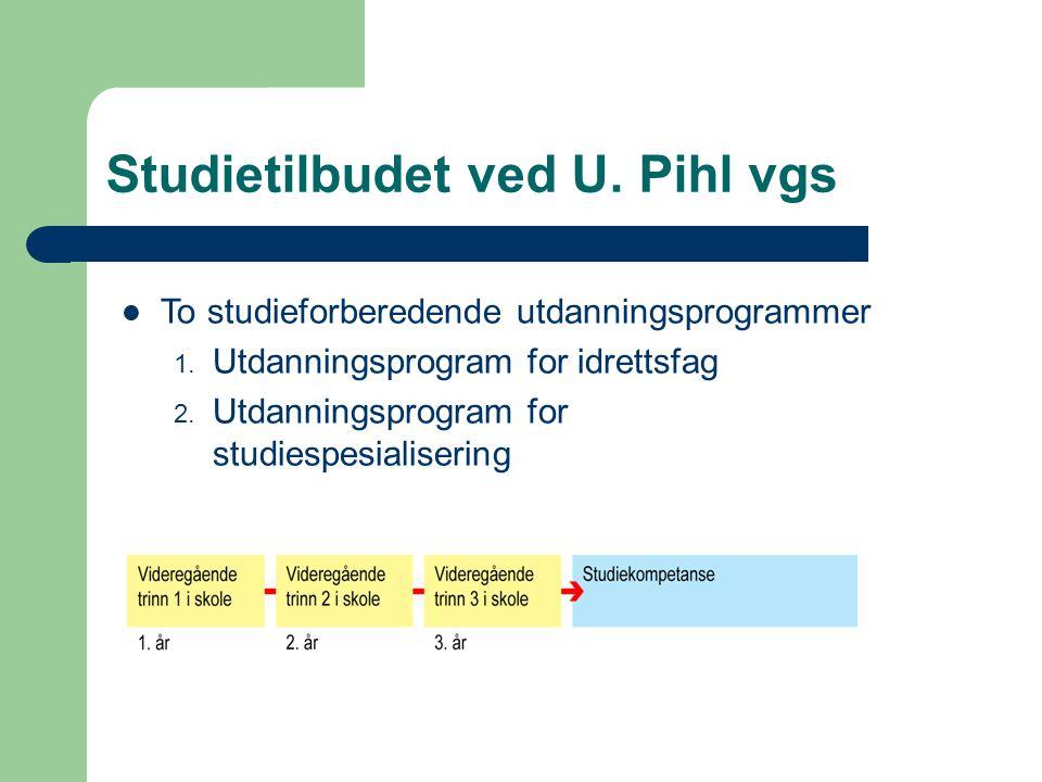 Studietilbudet ved U. Pihl vgs To studieforberedende utdanningsprogrammer 1. Utdanningsprogram for idrettsfag 2. Utdanningsprogram for studiespesialis
