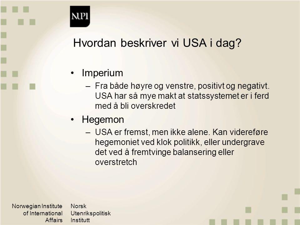 Norwegian Institute of International Affairs Norsk Utenrikspolitisk Institutt Hvordan beskriver vi USA i dag? Imperium –Fra både høyre og venstre, pos