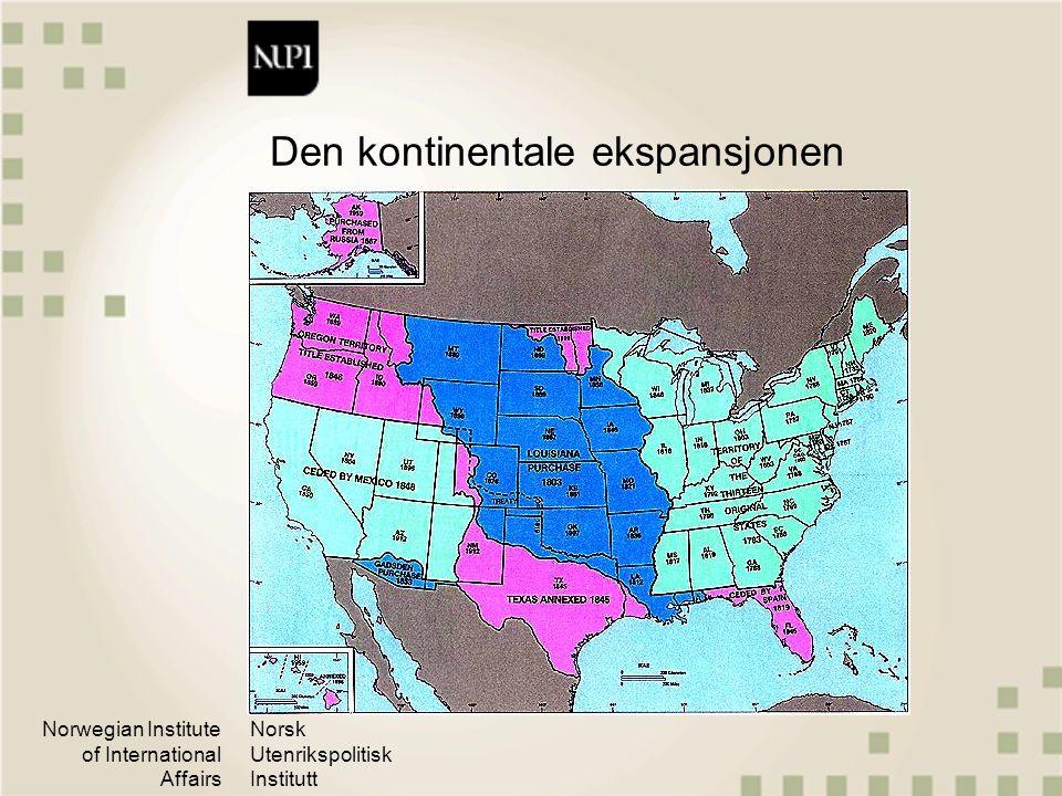 Norwegian Institute of International Affairs Norsk Utenrikspolitisk Institutt Fortsatt Borgerkrig 1861-65 USA som global makt med krigen mot Spania 1898 Alliert i begge verdenskriger, men motvillig.