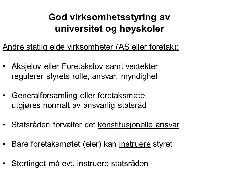 God virksomhetsstyring av universitet og høyskoler Universitetsloven: Styret er det øverste organ ved institusjonen.