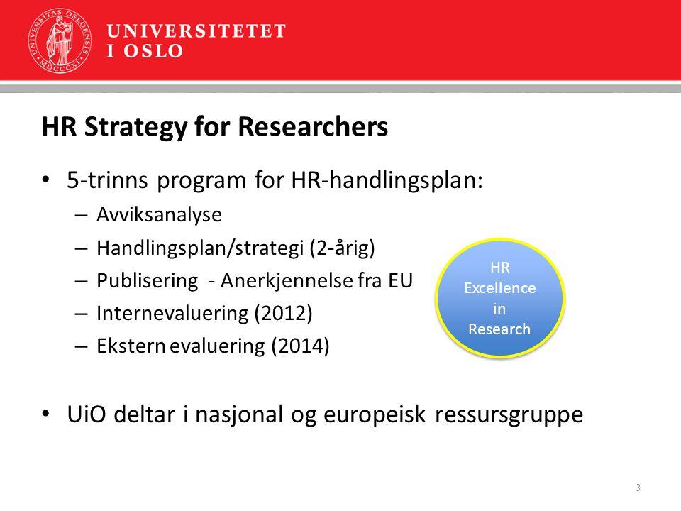 HR og fremragende forskning Forskere vil velge institusjonene som tilbyr de beste arbeidsvilkårene – de beste forskerne har det valget Fremragende forskning - der forskere kan utvikle og utnytte sitt fulle potensial HR - en hovedutfordring i utkast til Strategi 2020: UiO skal etablere et helhetlig program for menneskelige og materielle ressursers bidrag til kunnskapsproduksjonen 4