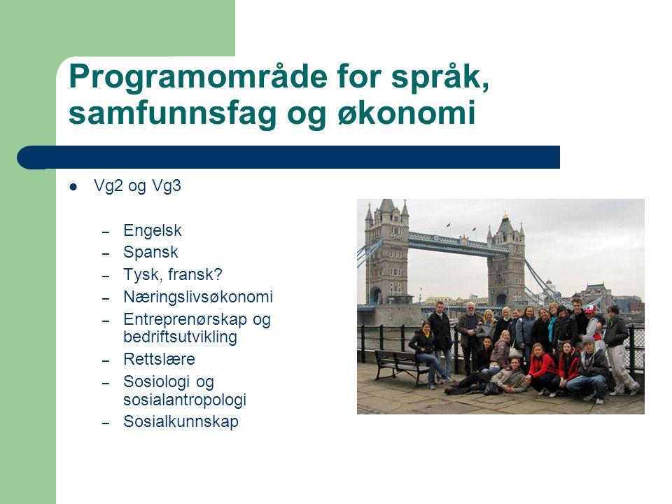 Programområde for språk, samfunnsfag og økonomi Vg2 og Vg3 – Engelsk – Spansk – Tysk, fransk? – Næringslivsøkonomi – Entreprenørskap og bedriftsutvikl