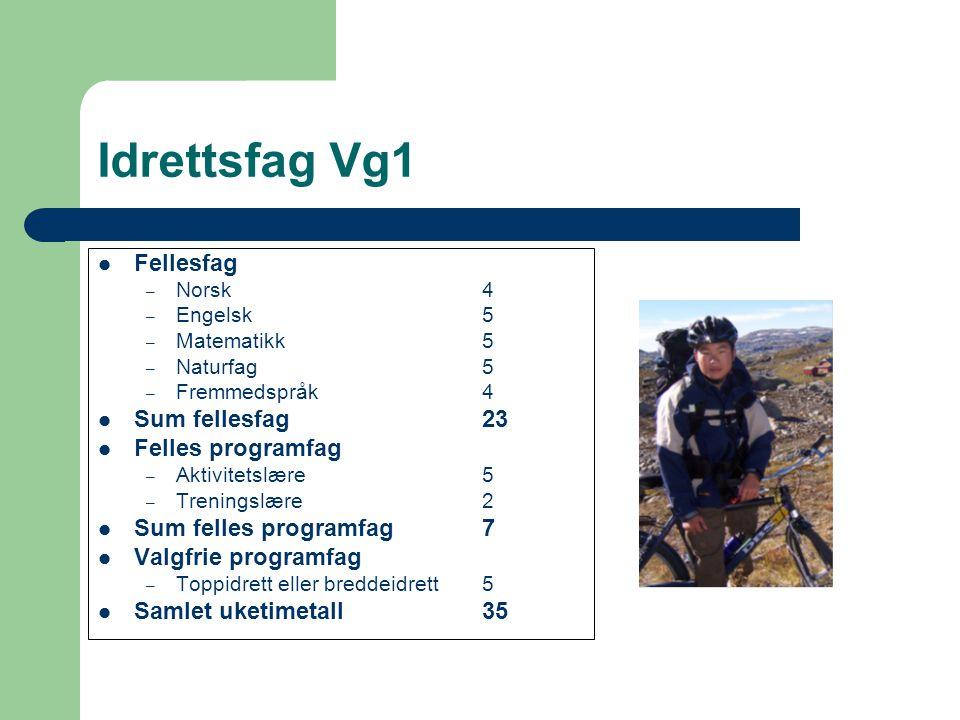 Idrettsfag Vg1 Fellesfag – Norsk4 – Engelsk5 – Matematikk5 – Naturfag5 – Fremmedspråk4 Sum fellesfag23 Felles programfag – Aktivitetslære5 – Treningsl