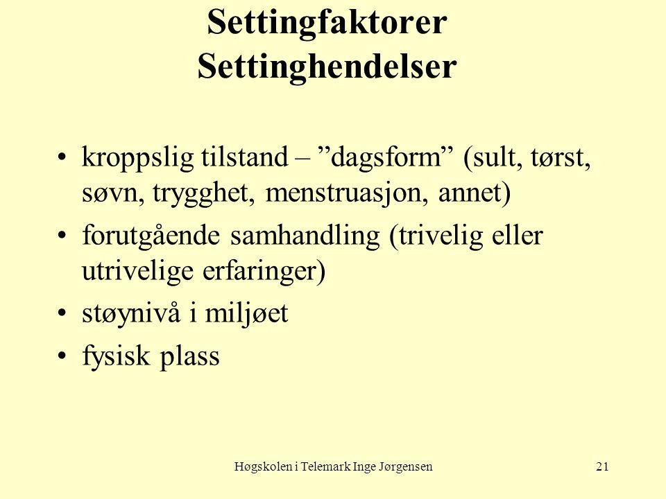 """Høgskolen i Telemark Inge Jørgensen21 Settingfaktorer Settinghendelser kroppslig tilstand – """"dagsform"""" (sult, tørst, søvn, trygghet, menstruasjon, ann"""