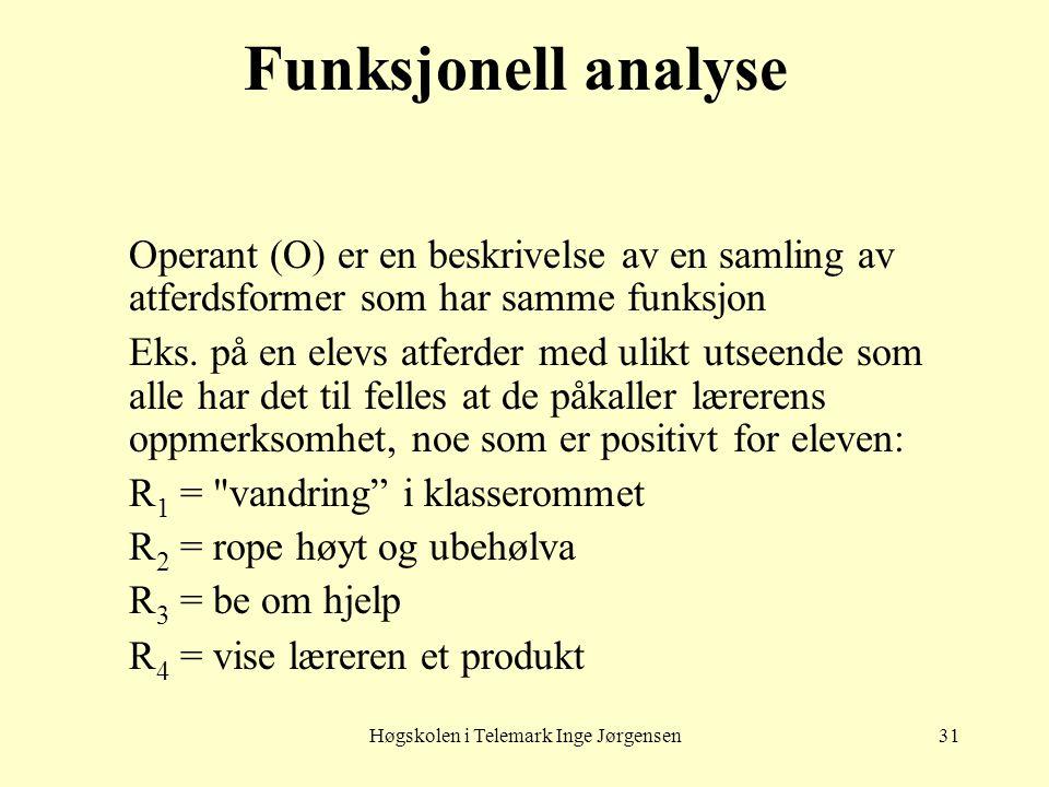 Høgskolen i Telemark Inge Jørgensen31 Funksjonell analyse Operant (O) er en beskrivelse av en samling av atferdsformer som har samme funksjon Eks. på