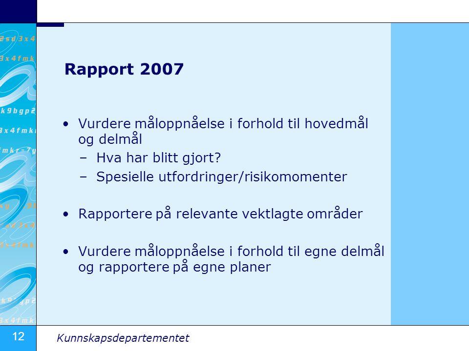 12 Kunnskapsdepartementet Rapport 2007 Vurdere måloppnåelse i forhold til hovedmål og delmål –Hva har blitt gjort.