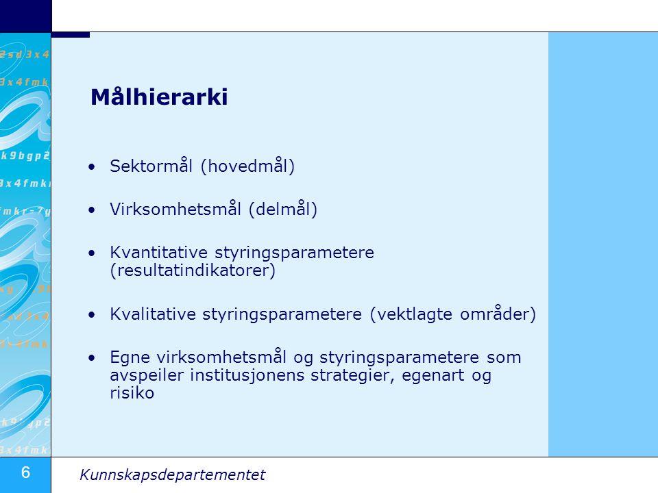 6 Kunnskapsdepartementet Målhierarki Sektormål (hovedmål) Virksomhetsmål (delmål) Kvantitative styringsparametere (resultatindikatorer) Kvalitative styringsparametere (vektlagte områder) Egne virksomhetsmål og styringsparametere som avspeiler institusjonens strategier, egenart og risiko