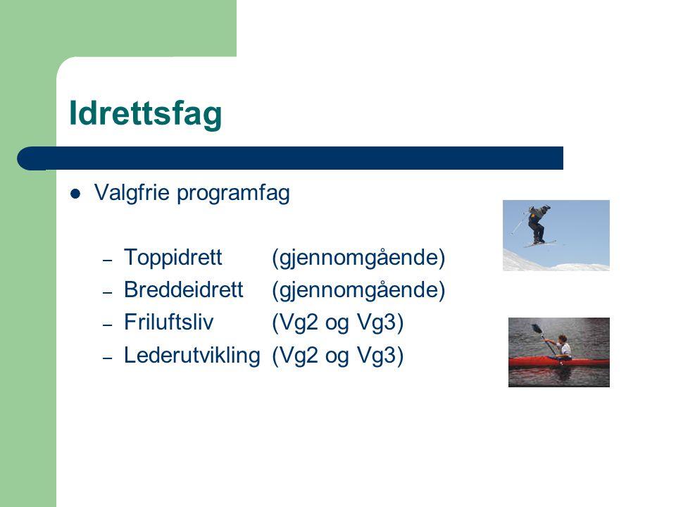 Idrettsfag Valgfrie programfag – Toppidrett(gjennomgående) – Breddeidrett(gjennomgående) – Friluftsliv(Vg2 og Vg3) – Lederutvikling(Vg2 og Vg3)