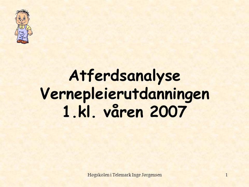 Høgskolen i Telemark Inge Jørgensen1 Atferdsanalyse Vernepleierutdanningen 1.kl. våren 2007