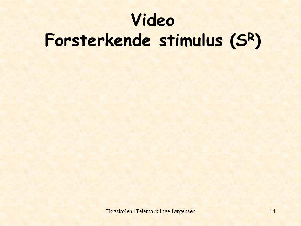 Høgskolen i Telemark Inge Jørgensen14 Video Forsterkende stimulus (S R )