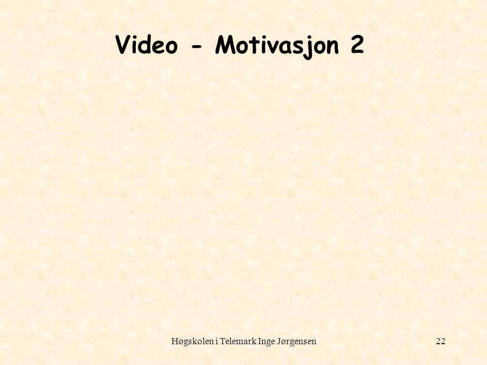 Høgskolen i Telemark Inge Jørgensen22 Video - Motivasjon 2