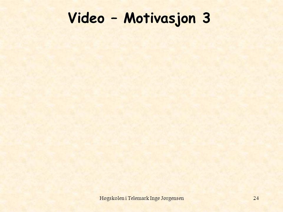 Høgskolen i Telemark Inge Jørgensen24 Video – Motivasjon 3