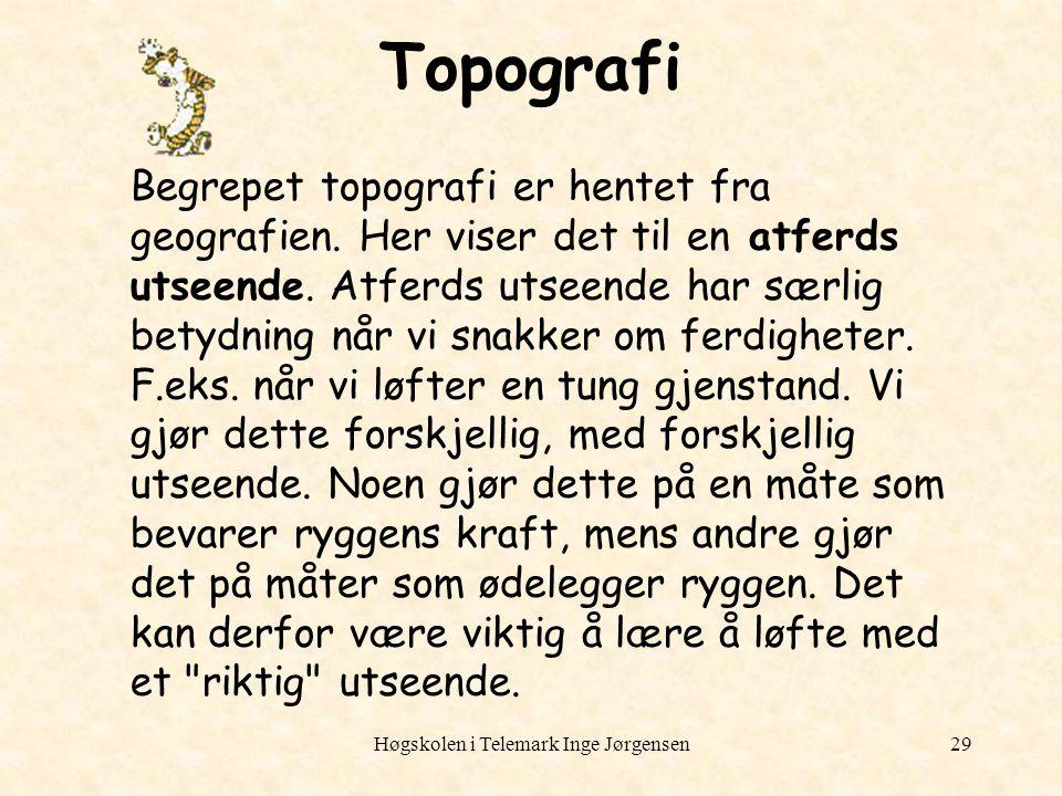Høgskolen i Telemark Inge Jørgensen29 Topografi Begrepet topografi er hentet fra geografien. Her viser det til en atferds utseende. Atferds utseende h