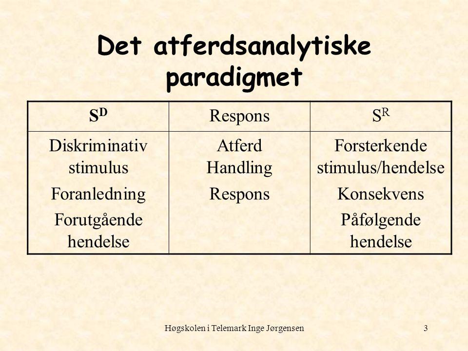 Høgskolen i Telemark Inge Jørgensen3 Det atferdsanalytiske paradigmet SDSD ResponsSRSR Diskriminativ stimulus Foranledning Forutgående hendelse Atferd