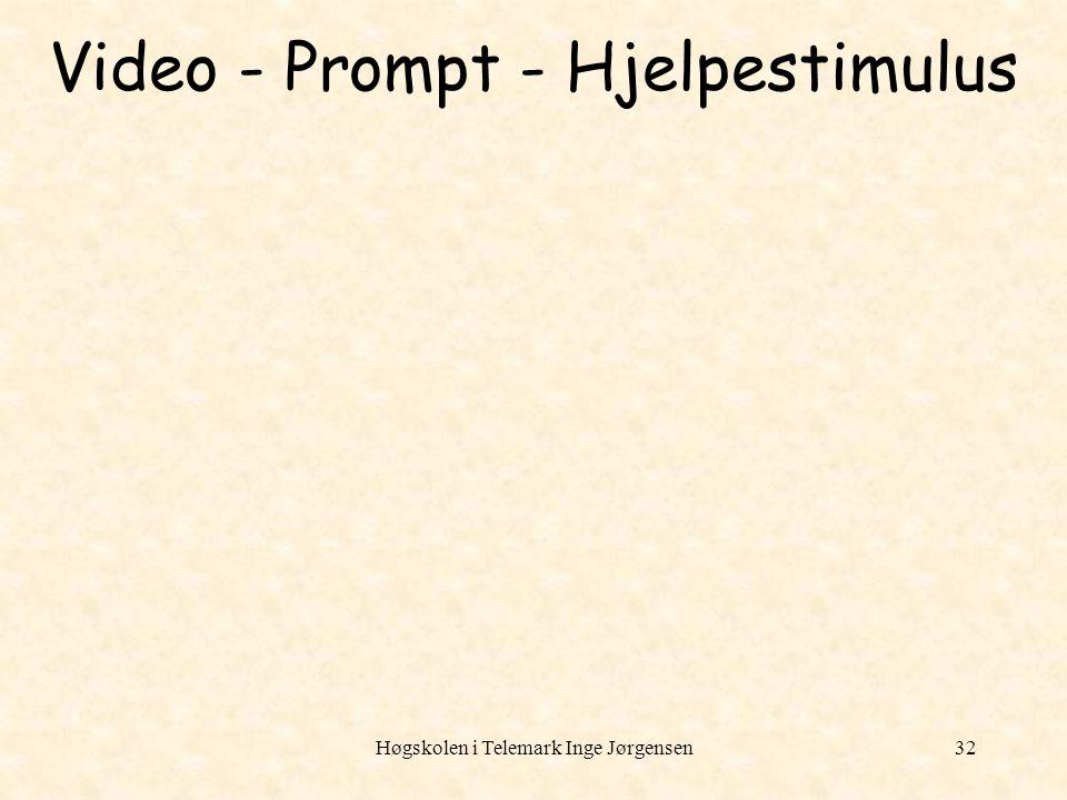Høgskolen i Telemark Inge Jørgensen32 Video - Prompt - Hjelpestimulus