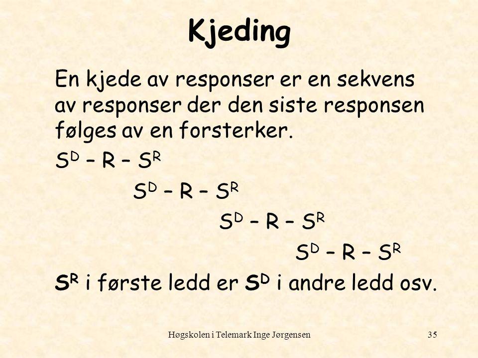 Høgskolen i Telemark Inge Jørgensen35 Kjeding En kjede av responser er en sekvens av responser der den siste responsen følges av en forsterker. S D –