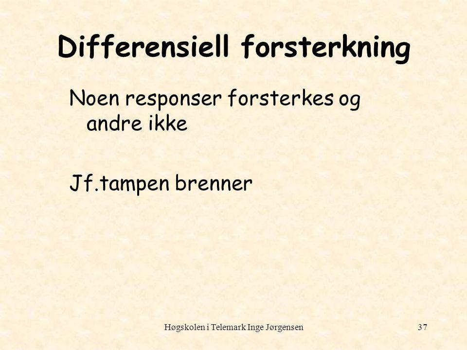 Høgskolen i Telemark Inge Jørgensen37 Differensiell forsterkning Noen responser forsterkes og andre ikke Jf.tampen brenner