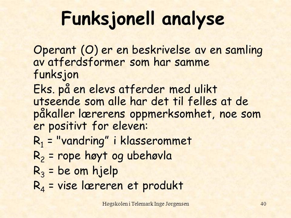 Høgskolen i Telemark Inge Jørgensen40 Funksjonell analyse Operant (O) er en beskrivelse av en samling av atferdsformer som har samme funksjon Eks. på